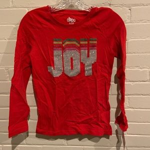 NWT Girls L (10/12) sparkly Joy Christmas shirt